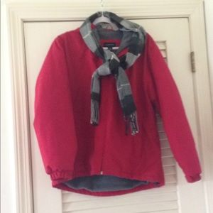 Land's End red barn jacket with hood.